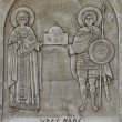 Bas-relief of Saints Barbara and Fanourios — Stock Photo