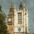 St. Margaret Church tower and Big Ben - Vintage — Stock Photo