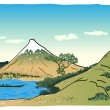 Japanese landscape, vector illustration - Stockvektor