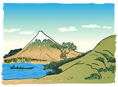 Japanese landscape, vector illustration — Stock Vector