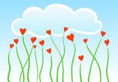 Vector heart flowers — Stock Vector