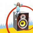 Girl sitting on a musical loudspeaker - Stock Photo