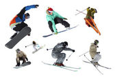 Isolated skiers and snowboarders — Stock Photo