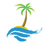 Tropical palm on island with sea. — Stock Vector