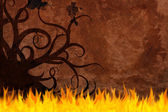 Old paper background on fire — Stock Photo