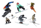 Ski and snowboard, riders isolated — Stock Photo