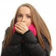 Young woman in winter tries to warm up her hands — Stock Photo #22528749