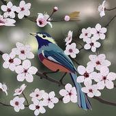 Дизайн карты, птицы и цветы — Cтоковый вектор