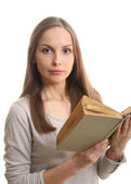 Woman reading a book, isolated — Stock Photo