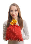 Young woman with gift sack — Stock Photo