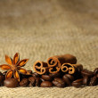 Coffee and Star Anise on sackcloth with copyspace — Stock Photo #25799271