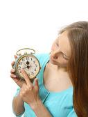 Woman with alarm clock — Stock Photo