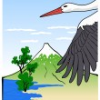 Stock Vector: Mountain Fuji with stork, vector illustration