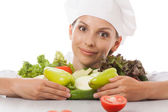 Woman chef or cook and vegetables — Stock Photo