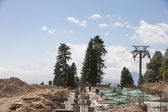 Construction of cable way in the mountains — Stock fotografie