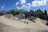 Construction of cable way in the mountains — Stockfoto