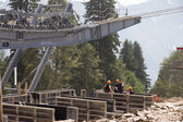 Construction of cable way in the mountains — Stock Photo