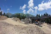 Construction of cable way in the mountains — ストック写真