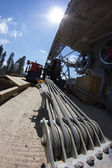 Construction of cable way in the mountains — Foto de Stock