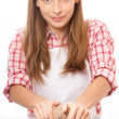 Woman knead rye dough — Stock Photo