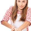 Foto Stock: Woman knead rye dough