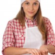 Woman knead rye dough — Foto Stock