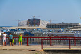 "SOCHI, RUSSIA - JUNE 20: Construction of the olympic stadium ""Fisht."" — Stock Photo"