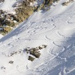 Stock Photo: Freeride, tracks on slope.