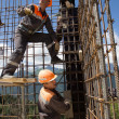 Workers make reinforcement for concrete wall — Stock Photo #45119417