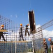 Workers make reinforcement for concrete wall — Stock Photo #45119427