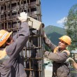 Workers make reinforcement for concrete wall — Stock Photo #45119441