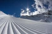 Perfectly groomed ski piste — Stock Photo