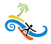 Surfer and island with palm, vector illustration — Vector de stock
