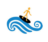 Surfer on the wave, vector illustration — Wektor stockowy