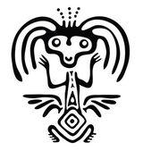 Alien in native style, vector illustration — Stok Vektör