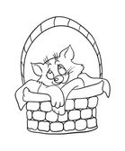 Cartoon kitten in a basket, vector illustration — Stock Vector