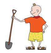 Boy in shorts with shovel, vector — Stock Vector