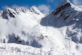 Ski resort in the mountains — Stock Photo