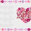 Stock Vector: 2014 calendar with heart from buttons