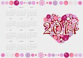 2014 calendar with heart from buttons — Stock Vector