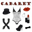 Cabaret icon set — Stock Vector