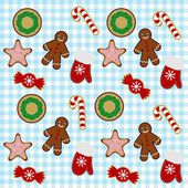 Christmas cookies endless pattern — Stock Vector