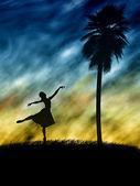 Women ballet dancer silhouette — Stock Photo