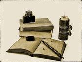 Stary styl pisania zestaw ze świecą — Zdjęcie stockowe