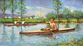 Canoe on the river — Stock Photo