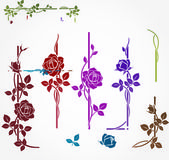 Set of floral elements for frames — Stock Vector
