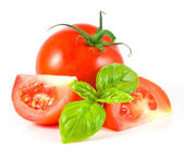 Tomato with leaf of basil — Stock Photo