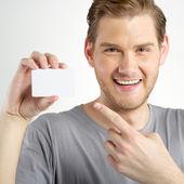 Man holding card — Stock Photo
