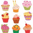 Stock Vector: Cupcakes Set