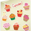Cupcakes Stickers Set — Stock Vector #19949705